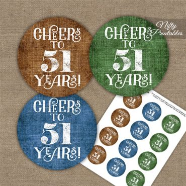 51st Birthday Cupcake Toppers - Linen Cheers To Years