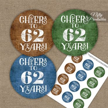 62nd Birthday Cupcake Toppers - Linen Cheers To Years