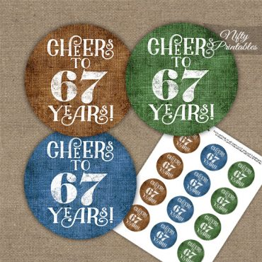 67th Birthday Cupcake Toppers - Linen Cheers To Years
