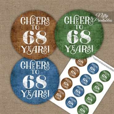 68th Birthday Cupcake Toppers - Linen Cheers To Years