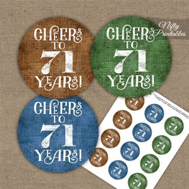 71st Birthday Cupcake Toppers - Linen Cheers To Years