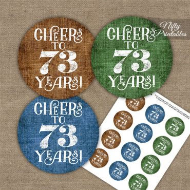 73rd Birthday Cupcake Toppers - Linen Cheers To Years