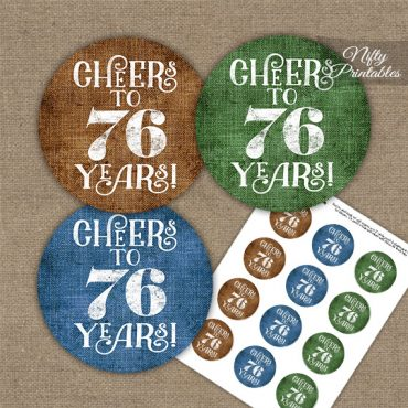 76th Birthday Cupcake Toppers - Linen Cheers To Years