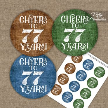 77th Birthday Cupcake Toppers - Linen Cheers To Years