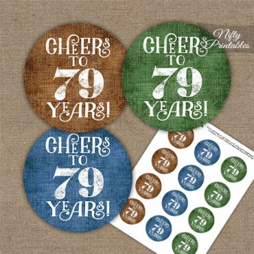 79th Birthday Cupcake Toppers - Linen Cheers To Years