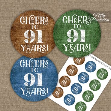 91st Birthday Cupcake Toppers - Linen Cheers To Years