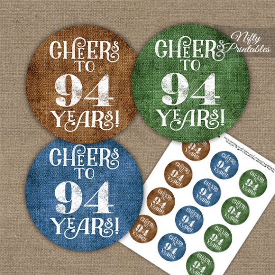 94th Birthday Cupcake Toppers - Linen Cheers To Years
