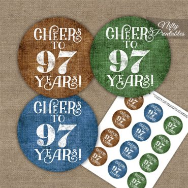 97th Birthday Cupcake Toppers - Linen Cheers To Years