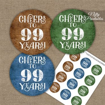 99th Birthday Cupcake Toppers - Linen Cheers To Years