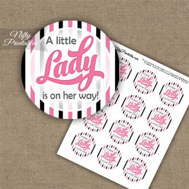 Little Lady - Baby Shower Toppers - Pink Black Stripe