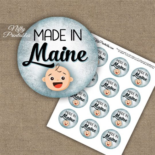 Maine White Baby - Blue Cupcake Toppers