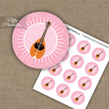 Mandolin Music Swirl Cupcake Toppers - Pink