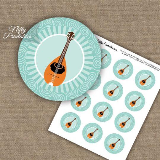 Mandolin Music Swirl Cupcake Toppers - Turquoise