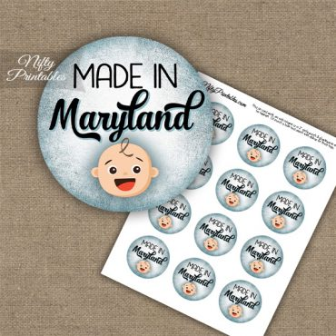 Maryland White Baby - Blue Cupcake Toppers
