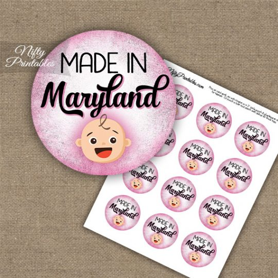 Maryland White Baby - Pink Cupcake Toppers