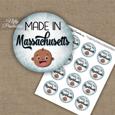 Massachusetts Black Baby - Blue Cupcake Toppers