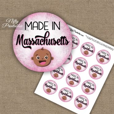 Massachusetts Black Baby - Pink Cupcake Toppers