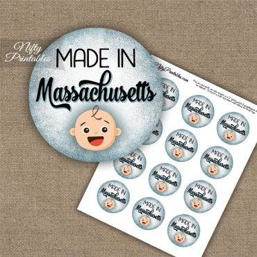 Massachusetts White Baby - Blue Cupcake Toppers