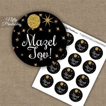Mazel Tov Cupcake Toppers - Balloons Black