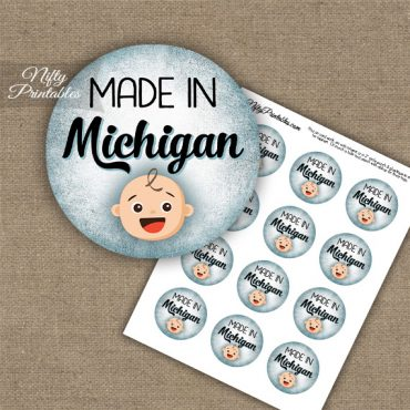 Michigan White Baby - Blue Cupcake Toppers