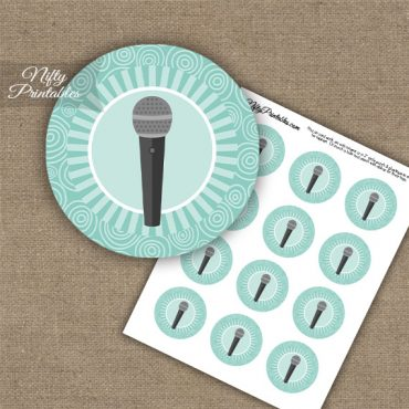 Microphone Music Swirl Cupcake Toppers - Turquoise
