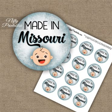 Missouri White Baby - Blue Cupcake Toppers