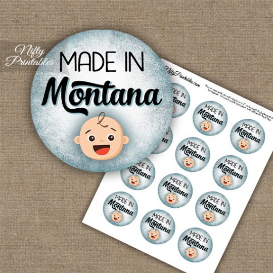 Montana White Baby - Blue Cupcake Toppers