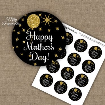 Mother's Day Cupcake Toppers - Balloons Black