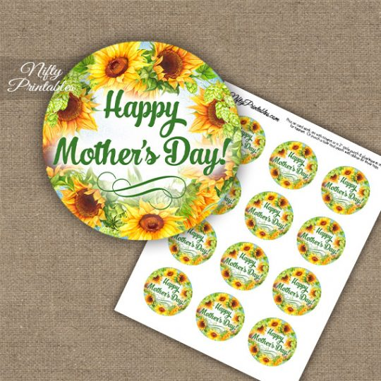 Mother's Day Cupcake Toppers - Sunflowers