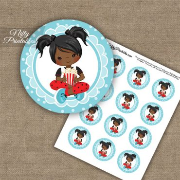 Movie Night Girl African American Cupcake Toppers