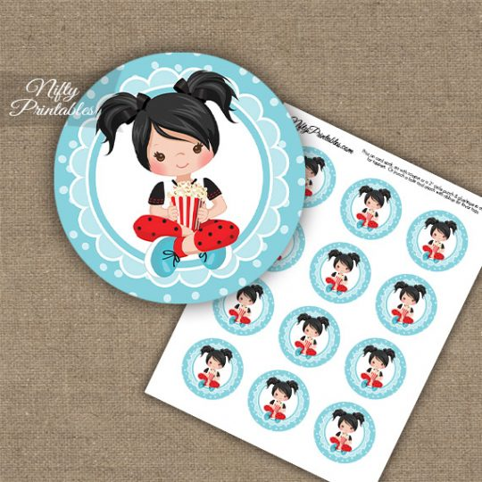Movie Night Girl Black Hair Cupcake Toppers