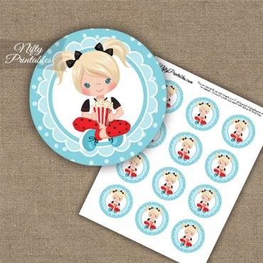 Movie Night Girl Blonde Hair Cupcake Toppers