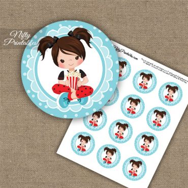 Movie Night Girl Brown Hair Cupcake Toppers