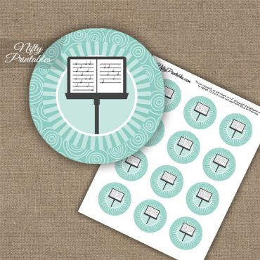 Music Stand Swirl Cupcake Toppers - Turquoise