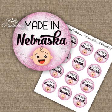 Nebraska White Baby - Pink Cupcake Toppers