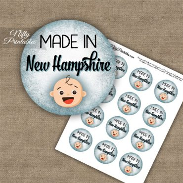 New Hampshire White Baby - Blue Cupcake Toppers