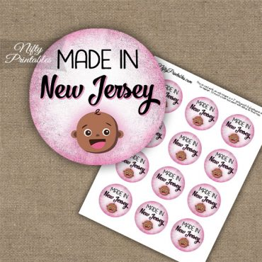 New Jersey Black Baby - Pink Cupcake Toppers