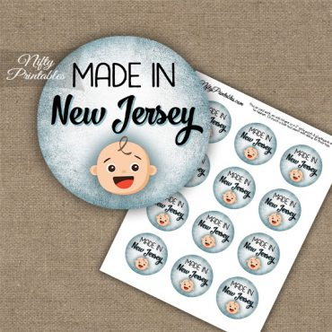New Jersey White Baby - Blue Cupcake Toppers