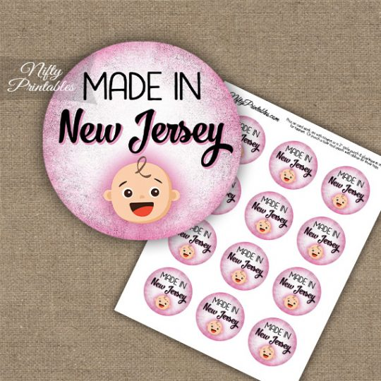 New Jersey White Baby - Pink Cupcake Toppers