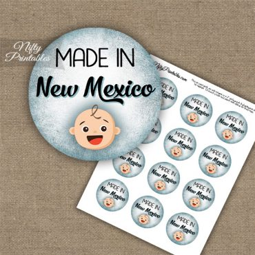 New Mexico White Baby - Blue Cupcake Toppers