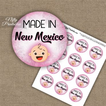 New Mexico White Baby - Pink Cupcake Toppers