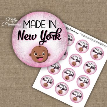 New York Black Baby - Pink Cupcake Toppers