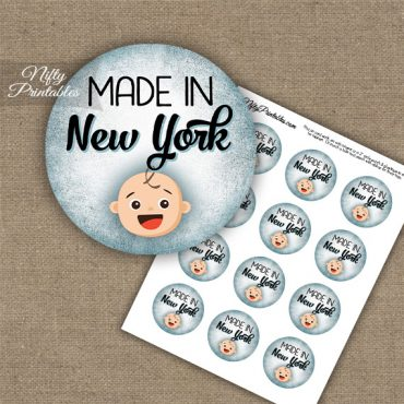 New York White Baby - Blue Cupcake Toppers