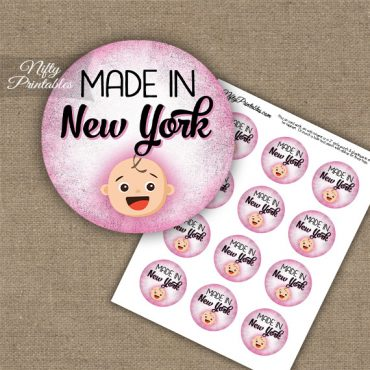 New York White Baby - Pink Cupcake Toppers