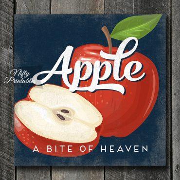 Vintage Apple Art Print - Retro Fruit