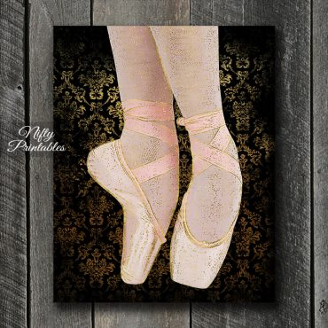 Ballet Shoes Art Print - Black Pink Gold
