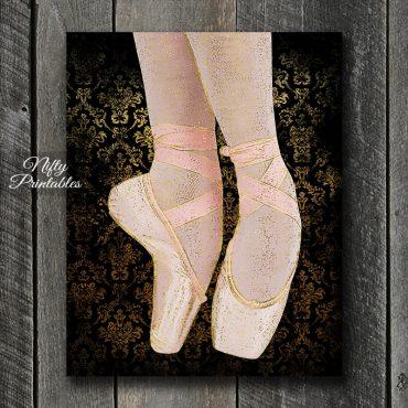Ballet Shoes Art Print - Black Pink Gold