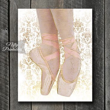 Ballet Shoes Art Print - White Pink Gold