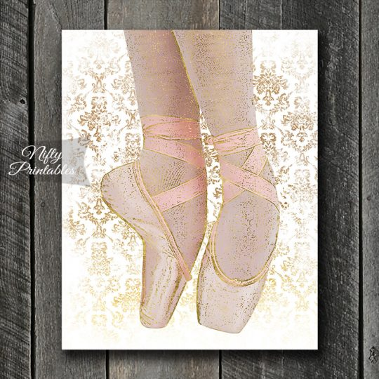 Ballet Shoes Art Print - White Pink Gold