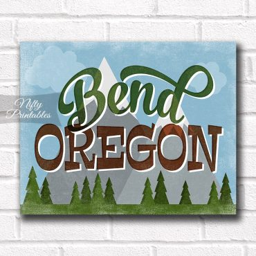 Bend Oregon Art Print - Retro Mountain Scene